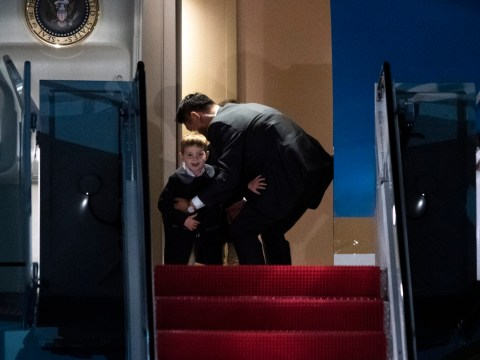 Secret service agent stops Ivanka Trump's giggling sons from running off Air Force One