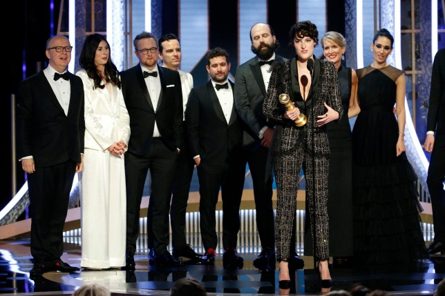 """BEVERLY HILLS, CALIFORNIA - JANUARY 04: In this handout photo provided by NBCUniversal Media, LLC, Phoebe Waller-Bridge accepts the award for BEST TELEVISION SERIES - MUSICAL OR COMEDY for """"Fleabag"""" onstage during the 76th Annual Golden Globe Awards at The Beverly Hilton Hotel on January 5, 2020 in Beverly Hills, California. (Photo by Paul Drinkwater/NBCUniversal Media, LLC via Getty Images)"""