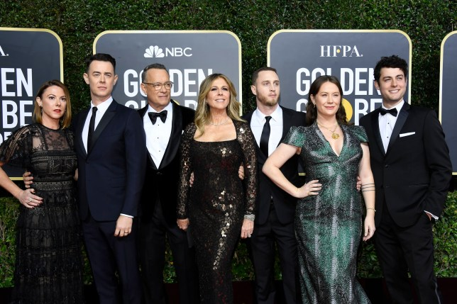 BEVERLY HILLS, CALIFORNIA - JANUARY 05: 77th ANNUAL GOLDEN GLOBE AWARDS -- Pictured: Tom Hanks (3L), his wife Rita Wilson and family arrive to the 77th Annual Golden Globe Awards held at the Beverly Hilton Hotel on January 5, 2020. -- (Photo by: Kevork Djansezian/NBC/NBCU Photo Bank via Getty Images)