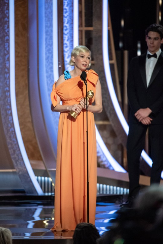 "5 January 2020. Michelle Williams accepts the Golden Globe Award for Best Performance by an Actress in a Limited Series or a Motion Picture Made for Television for her role in ""Fosse/Verdon"" at the 77th Annual Golden Globe Awards at the Beverly Hilton in Beverly Hills, CA on Sunday, January 5, 2020. Credit: PictureLux/GoffPhotos.com Ref: KGC-425/33938 **UK Sales Only**"