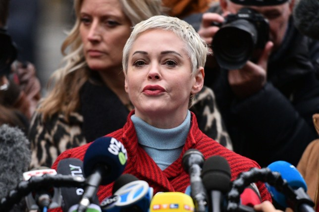 Mandatory Credit: Photo by Erik Pendzich/REX (10519064p) Rose McGowan speaks at a press conference outside the Criminal Court in New York. Harvey Weinstein court hearing, New York, USA - 06 Jan 2020