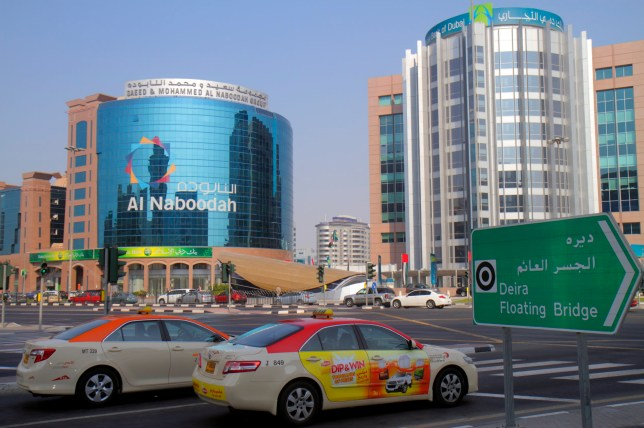 United Arab Emirates U.A.E. UAE Middle East Dubai Deira Al Ithihad Road traffic buildings Al Naboodah Group Commercial Bank of Dubai. (Photo by: Jeff Greenberg/Universal Images Group via Getty Images)