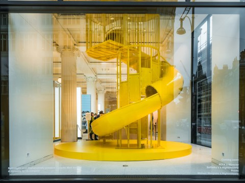 An ethical coffee shop has popped up in Selfridges with a giant yellow slide