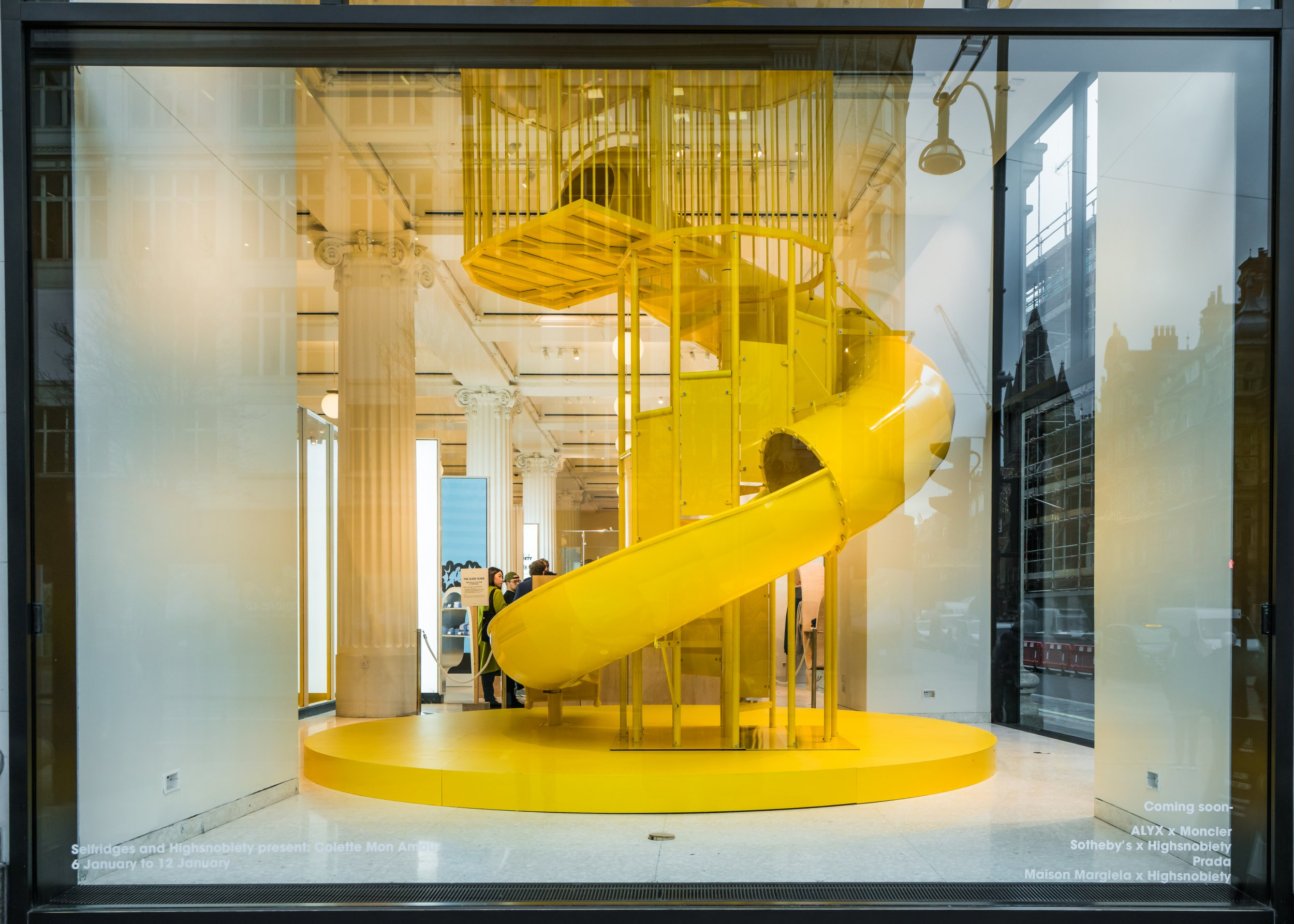 selfridges launched ethical coffee shop with a giant yellow slide