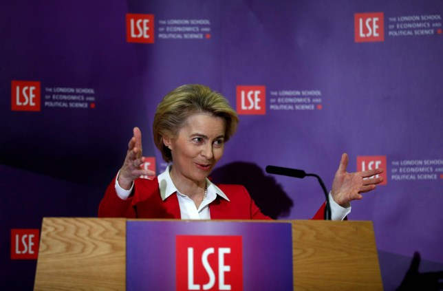 """European Commission President Ursula von der Leyen delivers a keynote speech at the London School of Economics in London on January 8, 2020. - The EU's top official on Wednesday predicted """"tough talks"""" with Britain on the sides' future relations after Brexit enters force after years of delays at the end of the month. """"There will be tough talks ahead and each side will do what is best for them,"""" European Council president Ursula von der Leyen said ahead of her first official meeting with Prime Minister Boris Johnson. (Photo by Adrian DENNIS / AFP) (Photo by ADRIAN DENNIS/AFP via Getty Images)"""