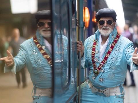 Diehard fans board Elvis Express in fancy dress for festival dedicated to music legend