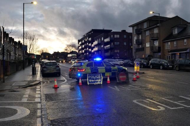 Police at the scene in Brent