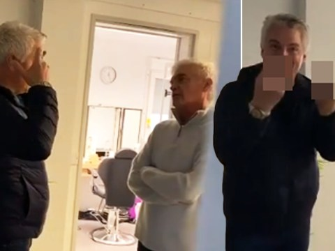 John Barrowman flips Holly Willoughby the bird as she films him bonding with Phillip Schofield over silver hair