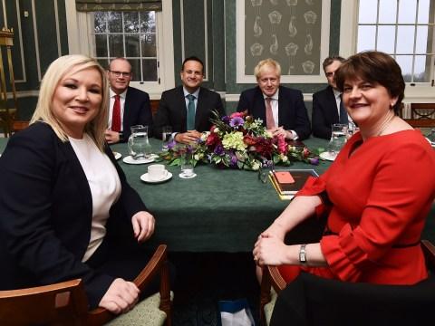 Boris Johnson meets Sinn Fein and DUP at Stormont to mark powersharing deal