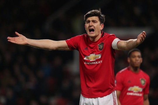 Harry Maguire of Manchester United reacts during the FA Cup Third Round Replay match between Manchester United and Wolverhampton Wanderers