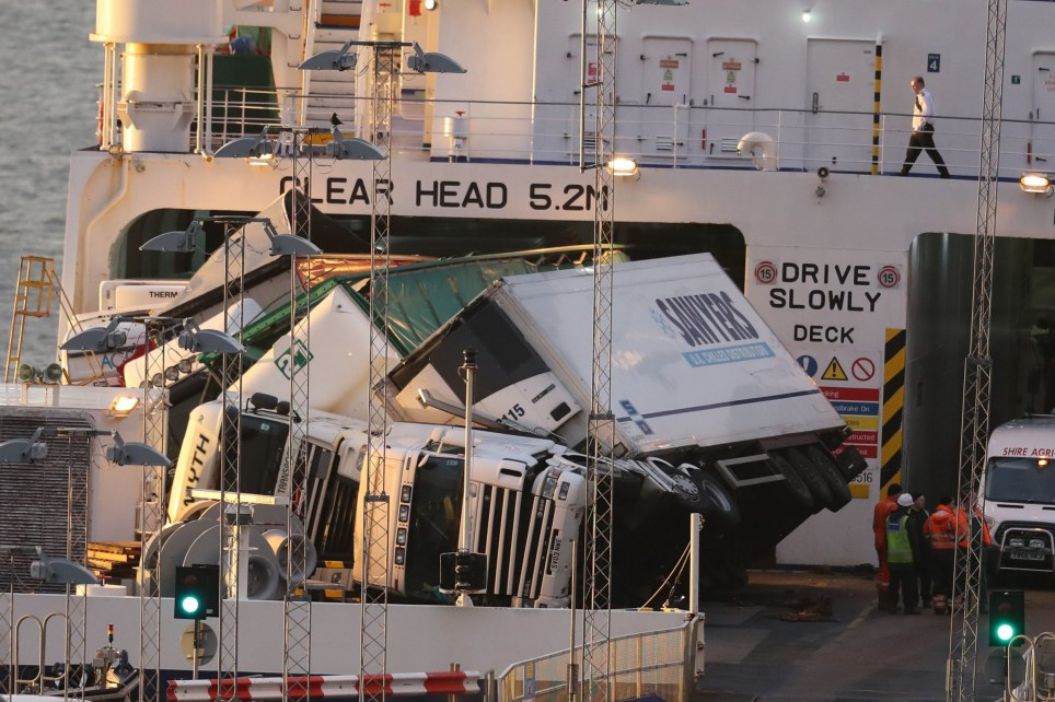 """Embargoed to 0001 Friday January 17 File photo dated 18/12/2018 of toppled lorries on board the P&O European Causeway. An investigation has identified an """"industry-wide"""" issue of lorry drivers ignoring international regulations and putting lives at risk by staying in their cabs at sea. PA Photo. Issue date: Friday January 17, 2020. The probe was sparked after nine HGVs toppled over and 22 vehicles were damaged during high winds on board the P&O European Causeway service between Larne, Northern Ireland, and Cairnryan, Scotland, on December 18 2018. See PA story ACCIDENT Ferry. Photo credit should read: Andrew Millligan/PA Wire"""