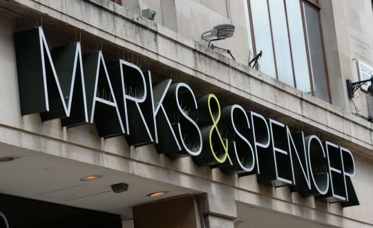 A view of a sign at Marks and Spencer