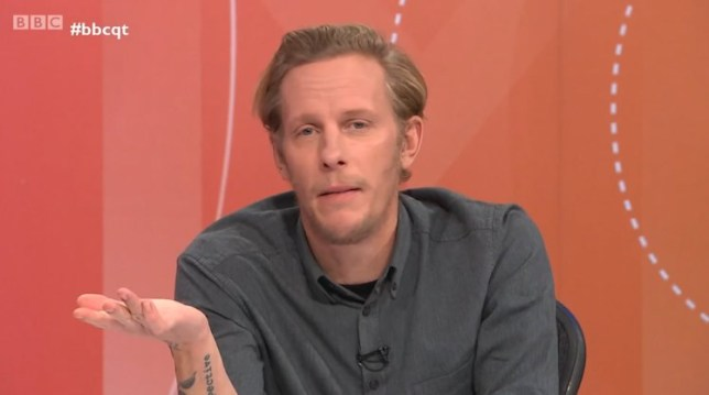 BBC Question Time Laurence Fox grabs