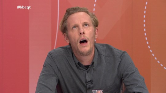 Laurence Fox appears on BBC Question Time asked about Duke and Duchess of Sussex standing down he says - audience member claims it is racism and says you're a white privileged male