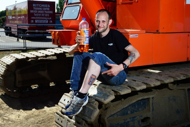 David Laing, who has Irn-Bru tattoos on both his lower legs, pictured showing off the artwork on June 8 2016. The Newer one is on his left leg, before being convicted of sexually assaulting two schoolgirls in Airdrie and Motherwell, Lanarkshire.