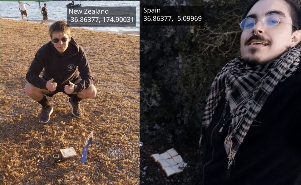 New Zealand student posing with piece of bread at Bucklands Beach, in eastern Auckland and friend doing the same in rural western Spain, about 90km west of the city of Malaga.