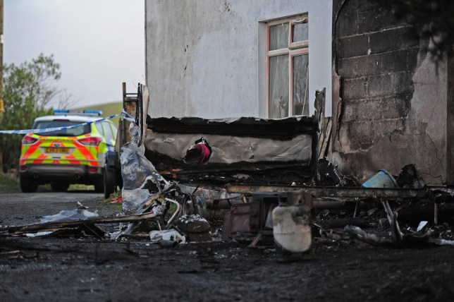 COPY BY TOM BEDFORD Pictured: A general view of the scene of the fire at Ffair Rhos in Ceredigion, Wales, UK. Re: A three-year-old boy was killed in a caravan fire in the early hours of Sunday morning at Ffair Rhos, near Tregaron, Ceredigion, west Wales. His four year old brother is in a critical but stable condition in hospital and his dad's condition is stable. The fire service said a touring caravan and vehicle were completely destroyed and adjacent property damaged in the blaze. Emergency services had been called to the scene at 5.35am on Sunday.