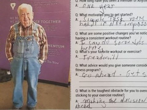 People love this 91-year-old man who works out in overalls at the gym