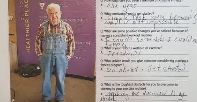 91-year-old works who works out in overalls at the gym