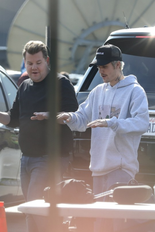 "Beverly Hills, CA - Justin Bieber and James Corden film a Carpool Karaoke segment in Beverly Hills and the two get moving to Justin's new single, ""Yummy."" Pictured: Justin Bieber, James Corden BACKGRID USA 22 JANUARY 2020 USA: +1 310 798 9111 / usasales@backgrid.com UK: +44 208 344 2007 / uksales@backgrid.com *UK Clients - Pictures Containing Children Please Pixelate Face Prior To Publication*"