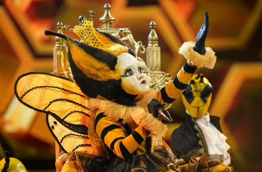 This image is strictly embargoed until 00.01 Friday 24th January 2020 From Bandicoot TV The Masked Singer: Ep5 on ITV Pictured: Queen Bee. This photograph is (C) Bandicoot TV and can only be reproduced for editorial purposes directly in connection with the programme or event mentioned above, or ITV plc. Once made available by ITV plc Picture Desk, this photograph can be reproduced once only up until the transmission [TX] date and no reproduction fee will be charged. Any subsequent usage may incur a fee. This photograph must not be manipulated [excluding basic cropping] in a manner which alters the visual appearance of the person photographed deemed detrimental or inappropriate by ITV plc Picture Desk. This photograph must not be syndicated to any other company, publication or website, or permanently archived, without the express written permission of ITV Picture Desk. Full Terms and conditions are available on the website www.itv.com/presscentre/itvpictures/terms For further information please contact: james.hilder@itv.com / 0207 157 3052