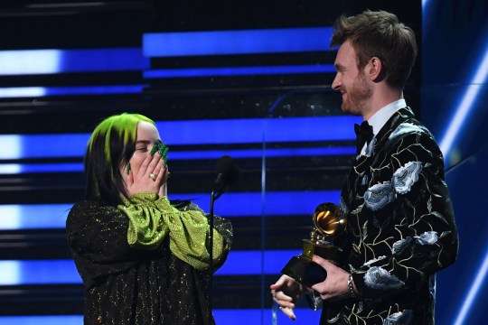 Billie Eilish (L) and brother US producer Finneas