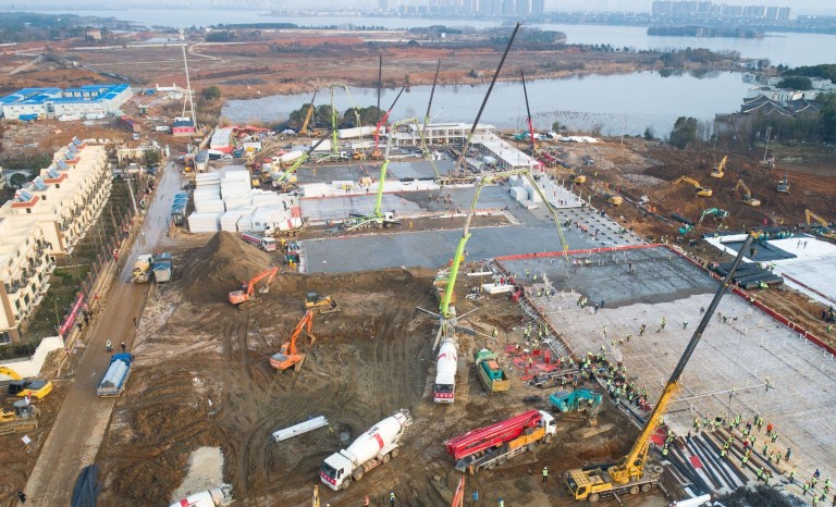 Mandatory Credit: Photo by Xinhua/REX (10541568k) The construction of Huoshenshan Hospital, a makeshift hospital for treating patients infected with the novel coronavirus, is underway in Wuhan. Coronavirus outbreak, Huoshenshan Hospital, Wuhan, China - 28 Jan 2020