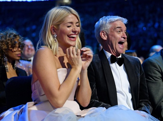 EXCLUSIVE - Premium Rates Apply. Please call your account manager for pricing. Mandatory Credit: Photo by Scott Garfitt/REX (10537884fg) Holly Willoughby and Phillip Schofield Exclusive - 25th National Television Awards, Show, O2, London, UK - 28 Jan 2020