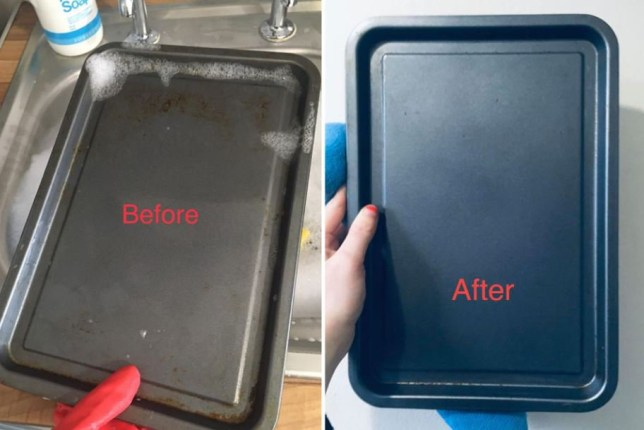 Woman reveals how to keep your baking trays spotless and grime-free using a 2p coin