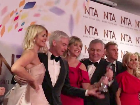 Eamonn Holmes accused of 'grabbing' NTA from Phillip Schofield's hands after Ruth Langsford's frosty interaction