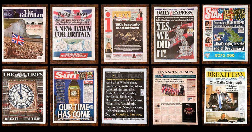 Mandatory Credit: Photo by RMV/REX (10544392n) Newspapers report on The UK leaving the European Union on January 31st 2020 Brexit Day, UK - 31 Jan 2020