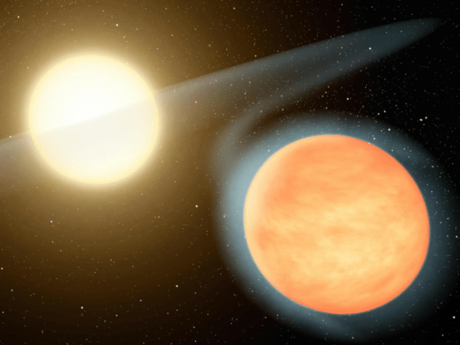 Illustration of the exoplanet WASP-12b orbiting perilously close to its star (Image: Nasa)