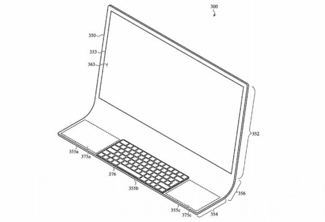 A drawing from a recent Apple patent showing a futuristic-looking glass computer (Image: Apple)