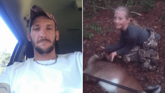 Photo of Kim Drawdry next to photo of Lauren Drawdry on a deer hunt