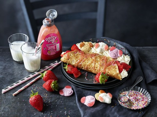 Marks and Spencer Percy Pig dessert sauce with pancakes and sweets