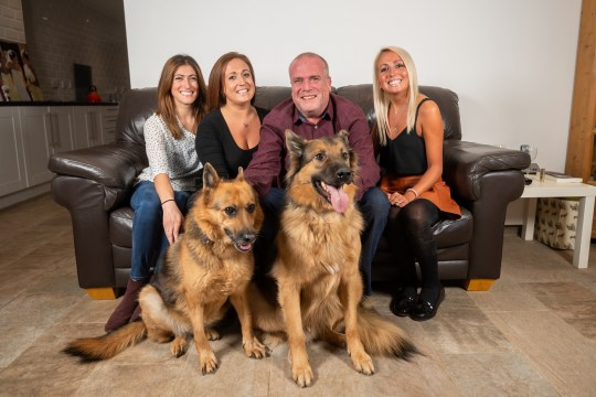 Paul Viner, 55 with daughters (L-R) Kealy Gulrajami, 33, Gemma Viner ,31 and Leah Bolt , 28, with German Shepard's Sheba age 7 and Sky age 2