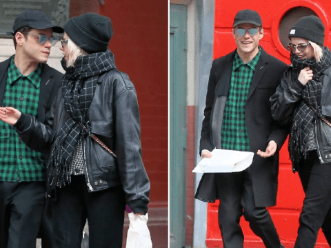 Rami Malek and Lucy Boynton are a couple in sync as they match plaid outfits on cosy day out