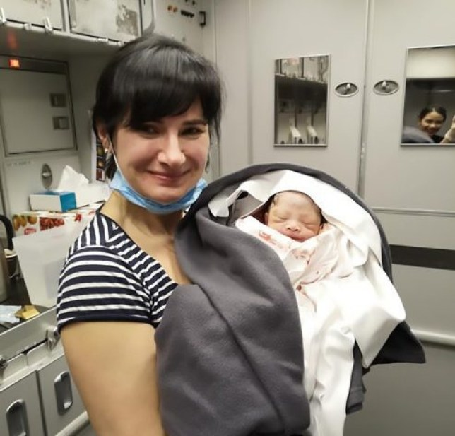 Alena Fedchenko with the baby