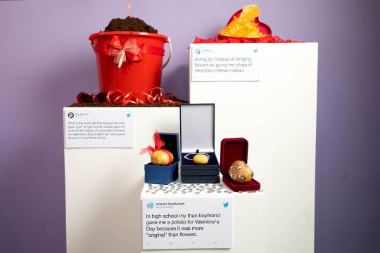 Out of the ordinary Valentine's gifts go on display at the Dating Twitter Advice Bureau (David Parry/PA Wire)