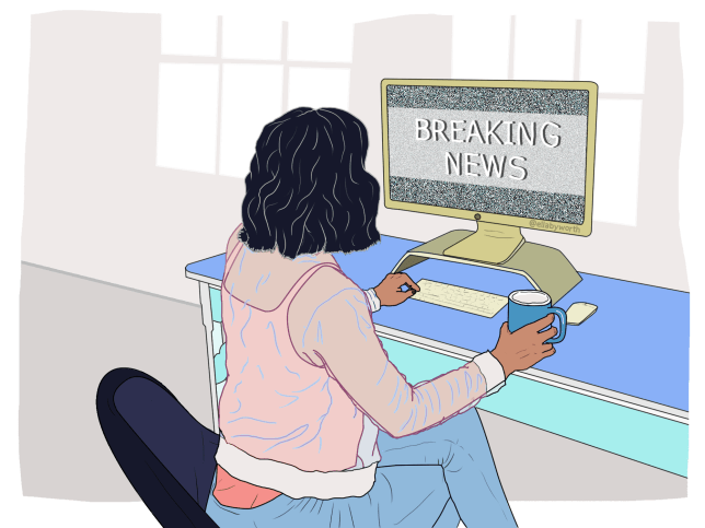 Illustration of woman working on a computer with the words 'Breaking News' on the screen