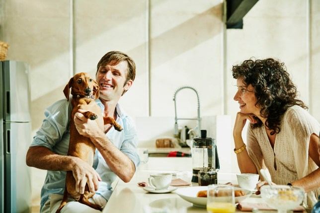 Smiling husband holding dog while eating breakfast with family