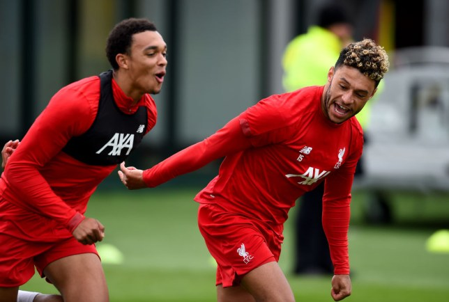 Trent Alexander-Arnold and Alex Oxlade-Chamberlain of Liverpool during a training session at Melwood Training Ground on August 20, 2019 in Liverpool, England.
