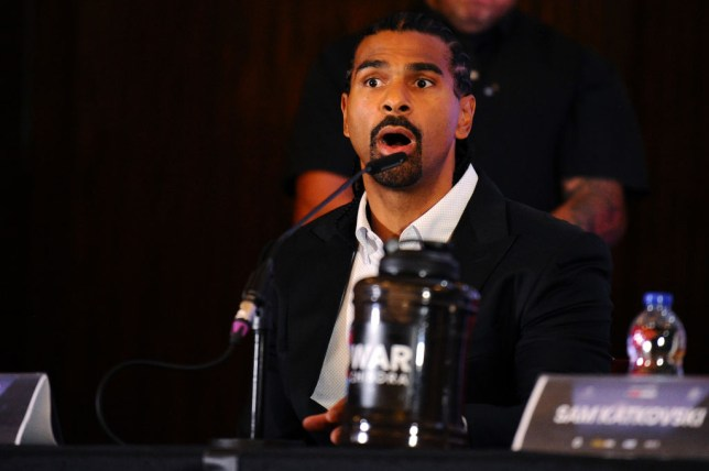 David Haye speaks to the media during the Regis Prograis and Josh Taylor Press Conference in the lead up to the WBSS Super-Lightweight Ali Trophy Final at Park Plaza London Riverbank Hotel on September 09, 2019 in London, England.