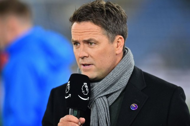 Michael Owen speaks to the camera at a football game