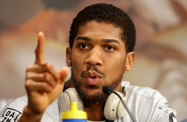 Anthony Joshua speaks to the media before his boxing fight