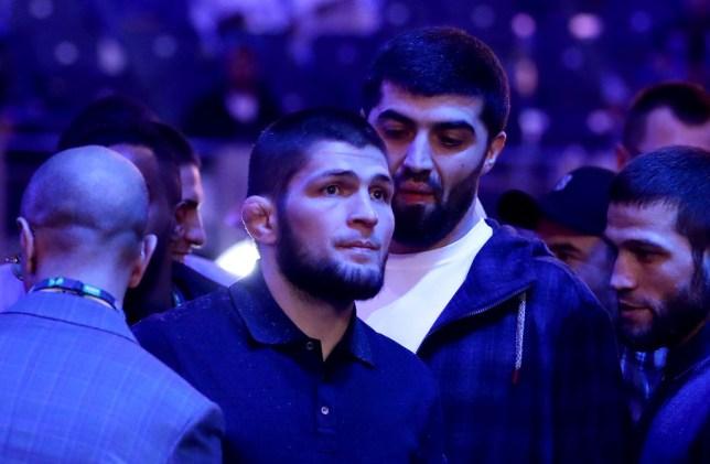 Khabib Nurmagomedov is ringside for a heavyweight fight