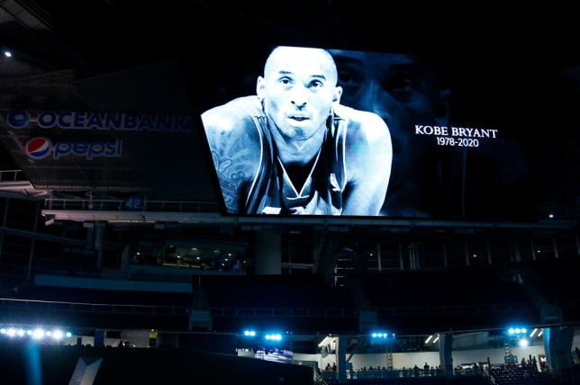Image of Kobe Bryant projected on a large screen