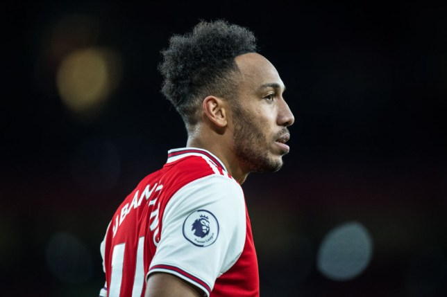 Pierre-Emerick Aubameyang is pictured in action for Arsenal