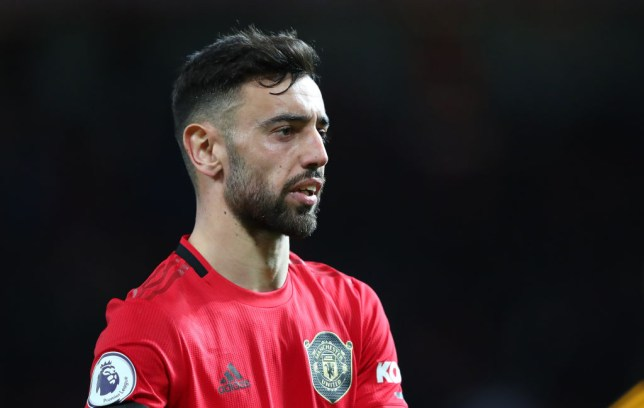 Bruno Fernandes of Manchester United looks on during the Premier League match between Manchester United and Wolverhampton Wanderers at Old Trafford on February 01, 2020 in Manchester, United Kingdom.