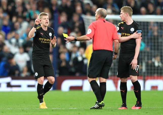 Manchester City star Oleksandr Zinchenko was sent off on the hour-mark at the Tottenham Hotspur Stadium